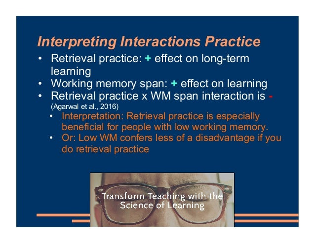 Interpreting Interactions Practice • Retrieval practice: + effect on long-term learning • Working memory span: + effect on...