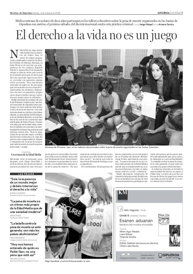 Noticias de Gipuzkoa Martes, 6 de octubre de 2009 GIPUZKOA SOCIEDAD 7 Medio centenar de escolares de doce años participan ...