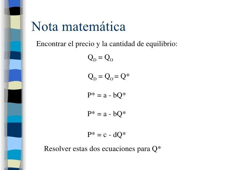 Nota matemática Encontrar el precio y la cantidad de equilibrio: Q D  = Q O Q D  = Q O  = Q* P* = a - bQ* P* = a - bQ* P* ...