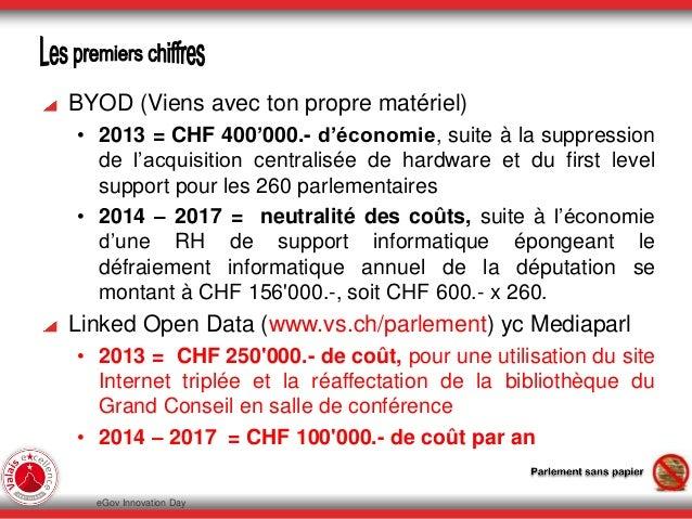 BYOD (Viens avec ton propre matériel) • 2013 = CHF 400'000.- d'économie, suite à la suppression de l'acquisition centralis...
