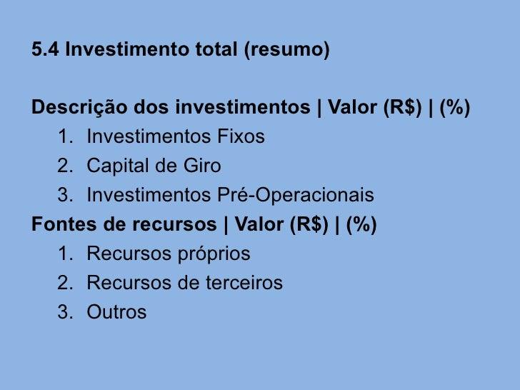 5.4 Investimento total (resumo)Descrição dos investimentos   Valor (R$)   (%)  1. Investimentos Fixos  2. Capital de Giro ...