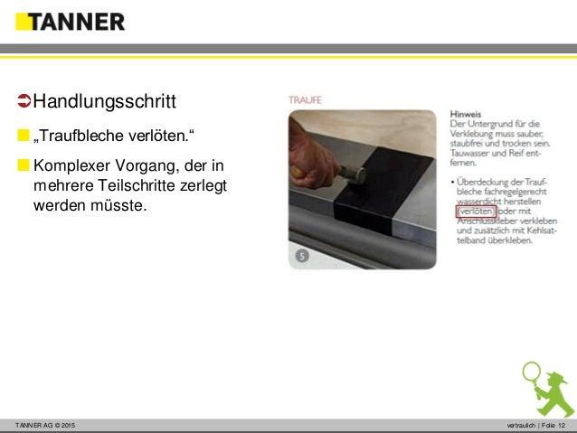 """© 2014 vertraulich   Folie 12TANNER AG © 2015 vertraulich   Folie 12  """"Traufbleche verlöten.""""  Komplexer Vorgang, der in..."""