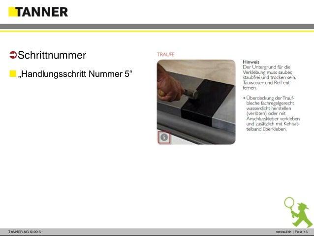 """© 2014 vertraulich   Folie 16TANNER AG © 2015 vertraulich   Folie 16  """"Handlungsschritt Nummer 5"""" Schrittnummer"""