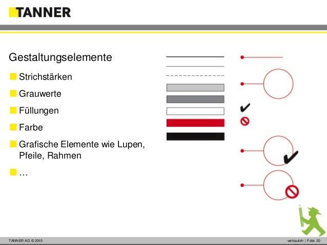 © 2014 vertraulich   Folie 20TANNER AG © 2015 vertraulich   Folie 20  Strichstärken  Grauwerte  Füllungen  Farbe  Gra...