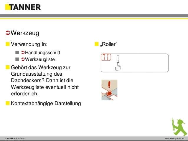 © 2014 vertraulich   Folie 22TANNER AG © 2015 vertraulich   Folie 22  Verwendung in:  Handlungsschritt  Werkzeugliste...