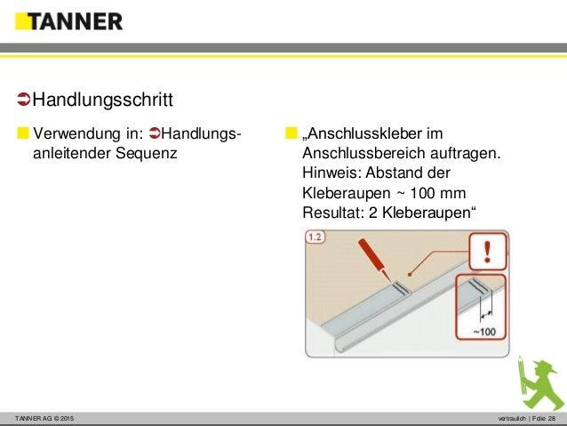 © 2014 vertraulich   Folie 28TANNER AG © 2015 vertraulich   Folie 28  Verwendung in: Handlungs- anleitender Sequenz Han...