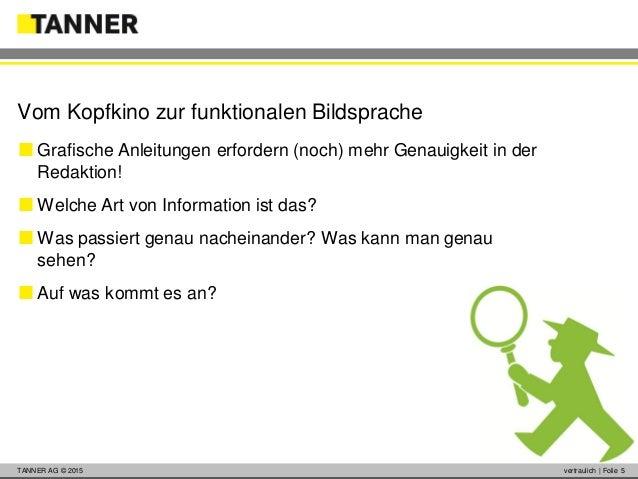 © 2014 vertraulich   Folie 5TANNER AG © 2015 vertraulich   Folie 5  Grafische Anleitungen erfordern (noch) mehr Genauigke...