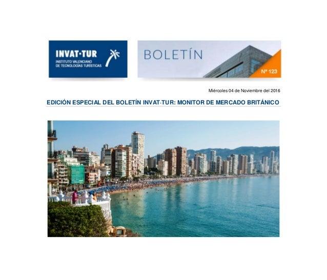 Miércoles 04 de Noviembre del 2016 EDICIÓN ESPECIAL DEL BOLETÍN INVAT·TUR: MONITOR DE MERCADO BRITÁNICO