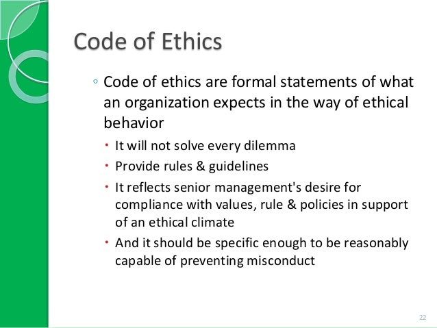 business code of ethics list