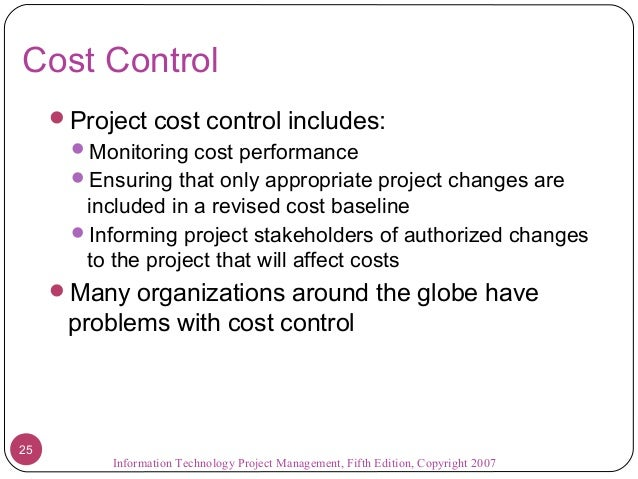 which costs are controllable by the project manager Although you may not develop and monitor detailed budgets for all your projects, knowing how to work with project costs can make you a better project manager and increase your chances of project success.