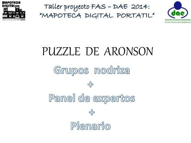 "Taller proyecto FAS – DAE 2014:  ""MAPOTECA DIGITAL PORTATIL""  PUZZLE DE ARONSON"