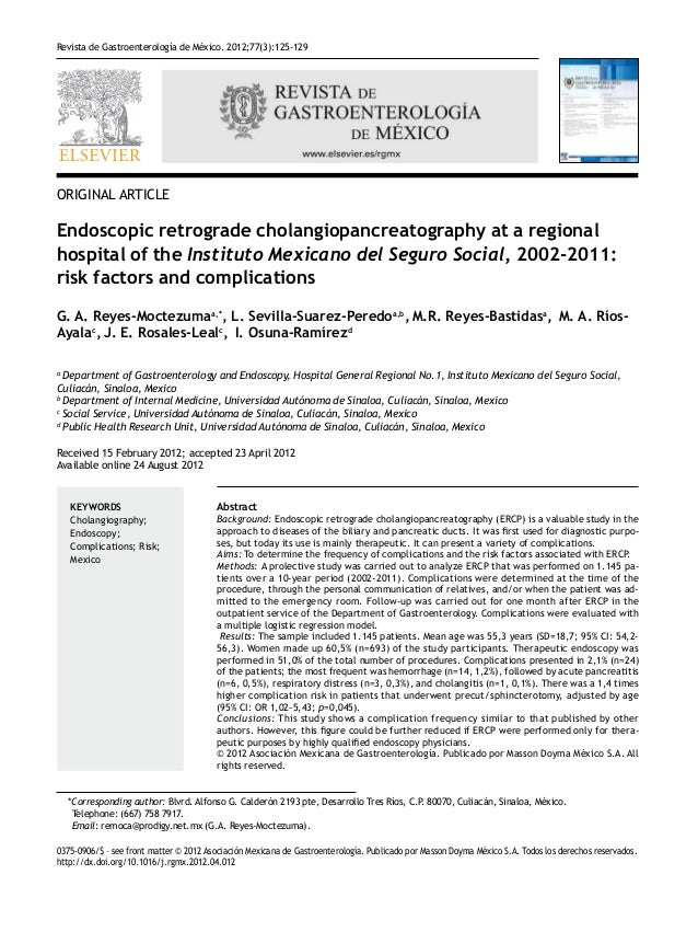 Revista de Gastroenterología de México. 2012;77(3):125-129ORIGINAL ARTICLEEndoscopic retrograde cholangiopancreatography a...
