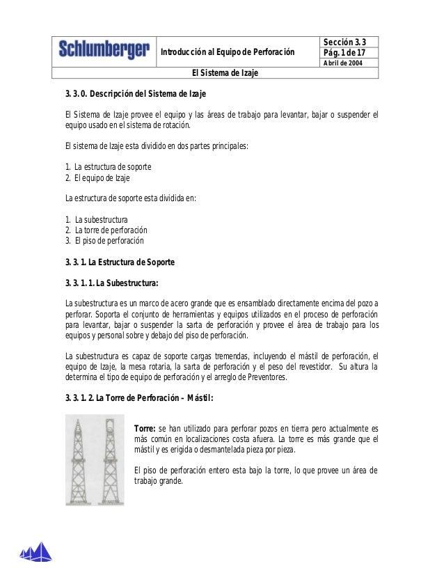 Sección 3. 3 Pág. 1 de 17Introducción al Equipo de Perforación Abril de 2004 El Sistema de Izaje 3. 3. 0. Descripción del ...