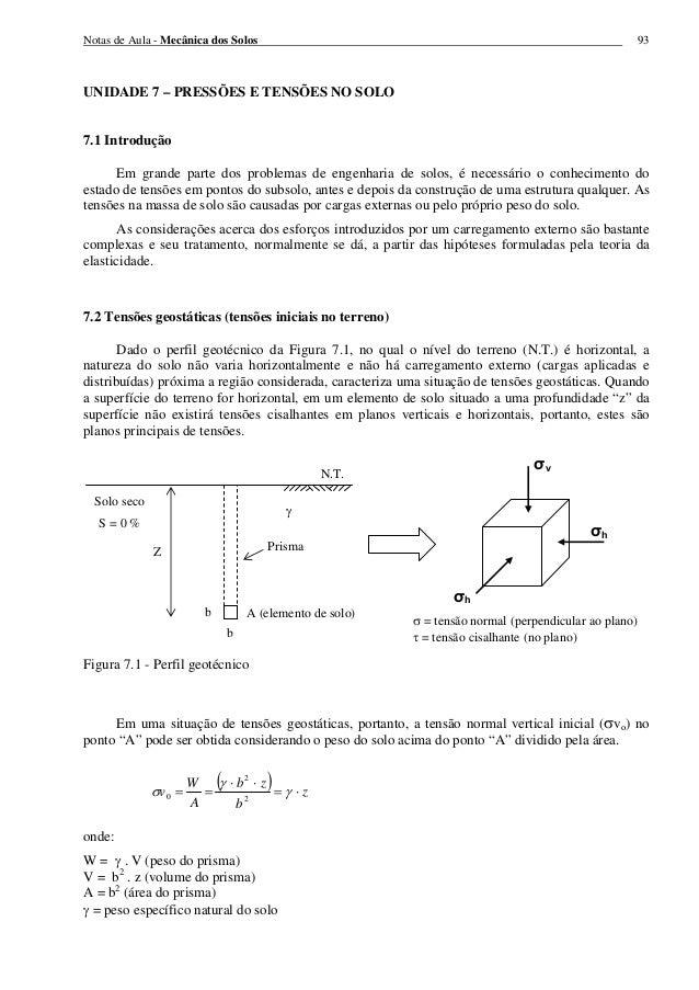 Notas de Aula - Mecânica dos Solos 93 UNIDADE 7 – PRESSÕES E TENSÕES NO SOLO 7.1 Introdução Em grande parte dos problemas ...