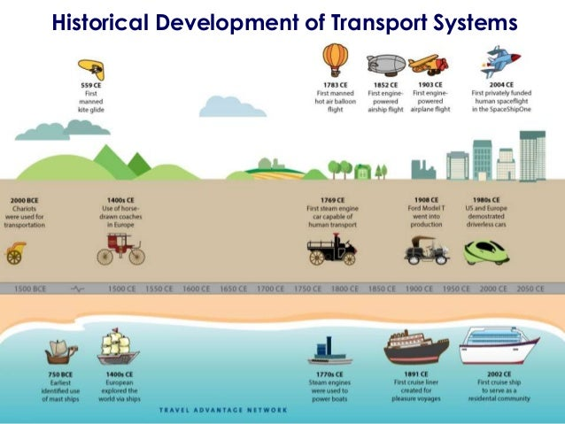 development in transportation The development of transportation systems is embedded within the scale and context in which they take place from the local to the global and from environmental, historical, technological and economic perspectives.