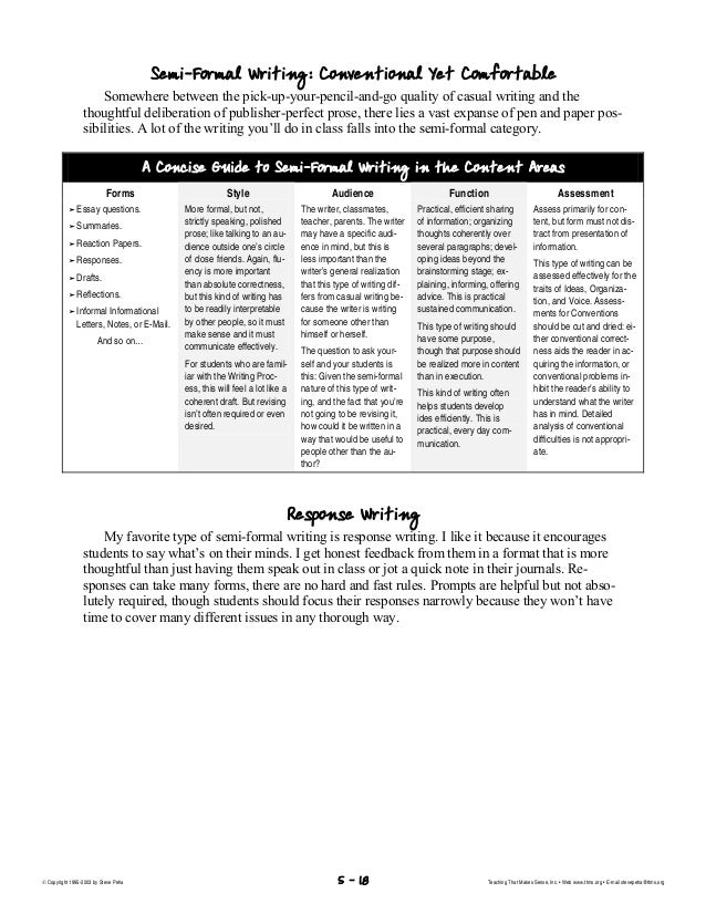 reading and writing across the curriculum