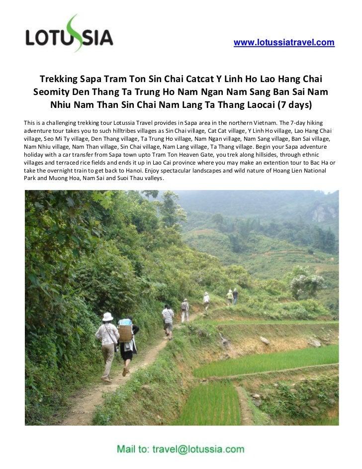 www.lotussiatravel.com    Trekking Sapa Tram Ton Sin Chai Catcat Y Linh Ho Lao Hang Chai   Seomity Den Thang Ta Trung Ho N...