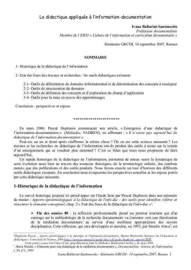 La didactique appliquée à l'information-documentation Ivana Ballarini-Santonocito Professeur documentaliste Membre de l'ER...