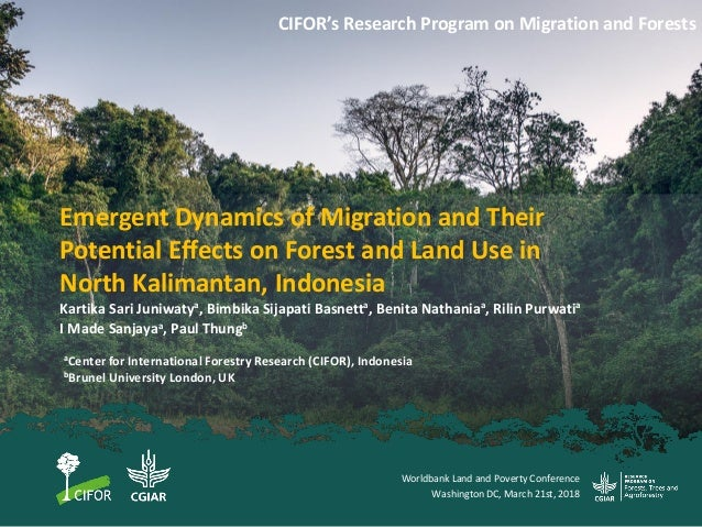Emergent Dynamics of Migration and Their Potential Effects on Forest and Land Use in North Kalimantan, Indonesia CIFOR's R...