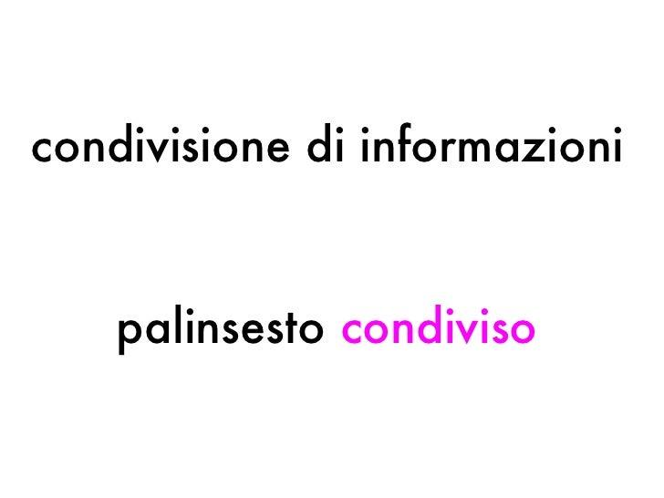 condivisione di informazioni palinsesto  condiviso