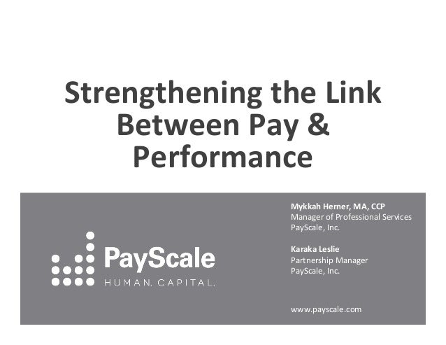 Strengthening  the  Link   Between  Pay  &   Performance   Mykkah  Herner,  MA,  CCP   Manager  of...