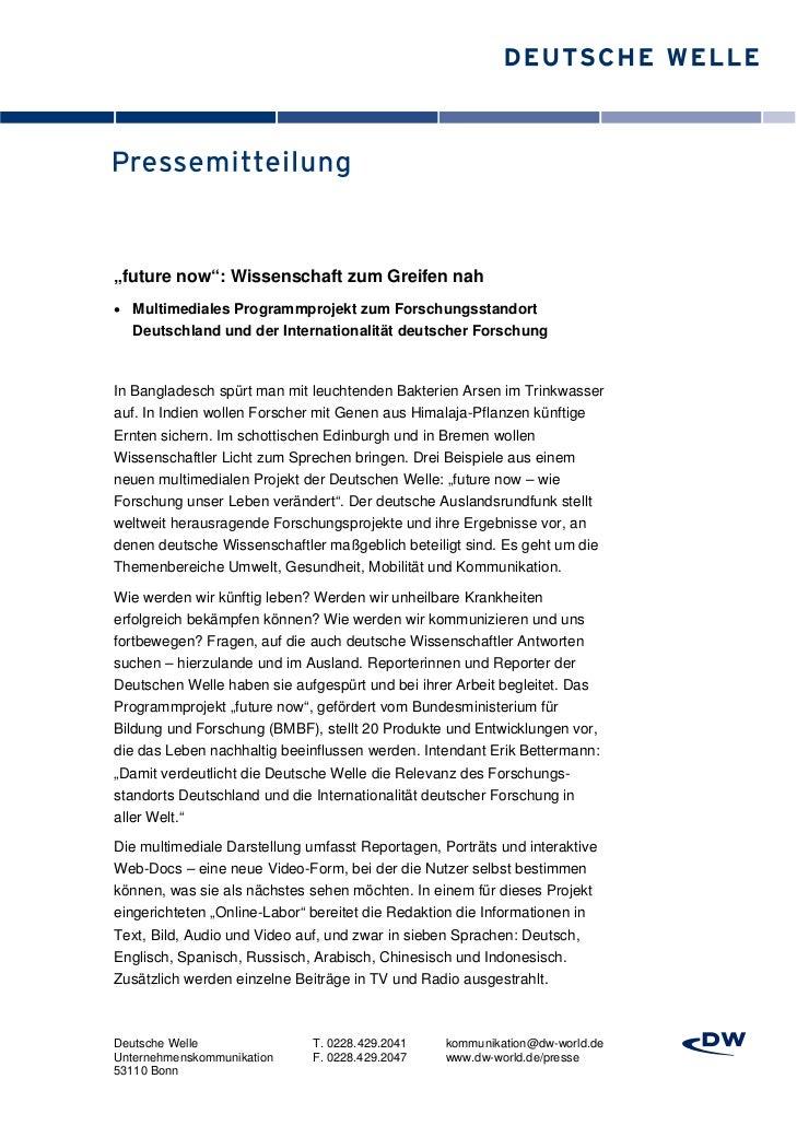 """""""future now"""": Wissenschaft zum Greifen nah Multimediales Programmprojekt zum Forschungsstandort  Deutschland und der Inte..."""