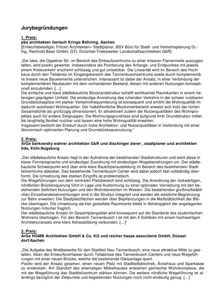 Jurybegründungen1. Preis:pbs architekten Gerlach Krings Böhning, Aachen[Entwurfsbeteiligte: Fritzen Architekten+ Stadtplan...