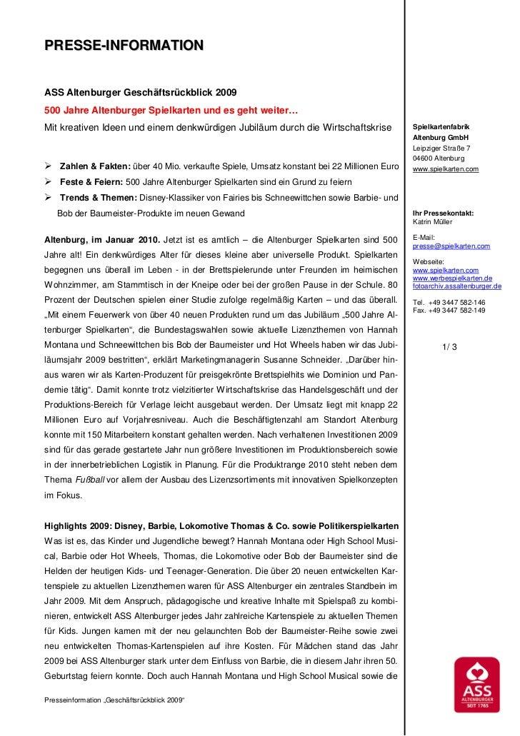 PRESSE-INFORMATIONASS Altenburger Geschäftsrückblick 2009500 Jahre Altenburger Spielkarten und es geht weiter…Mit kreative...