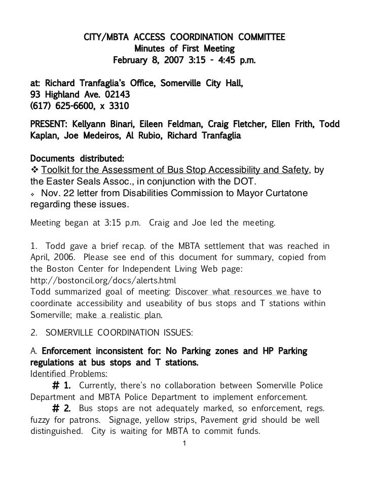 CITY/MBTA ACCESS COORDINATION COMMITTEE                        Minutes of First Meeting                   February 8, 2007...