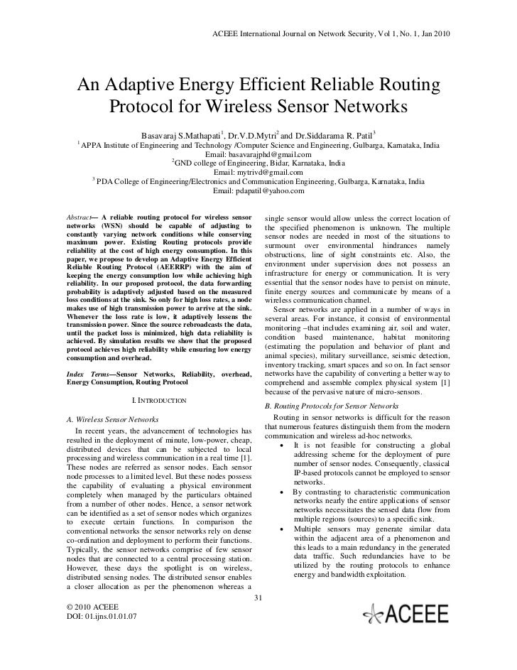ACEEE International Journal on Network Security, Vol 1, No. 1, Jan 2010   An Adaptive Energy Efficient Reliable Routing   ...