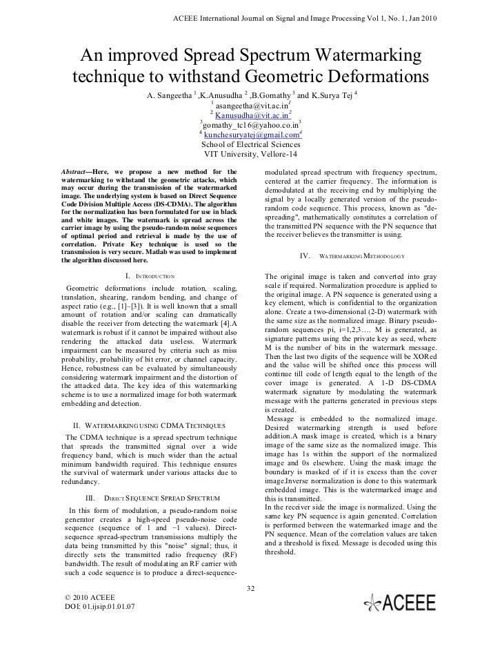 ACEEE International Journal on Signal and Image Processing Vol 1, No. 1, Jan 2010    An improved Spread Spectrum Watermark...