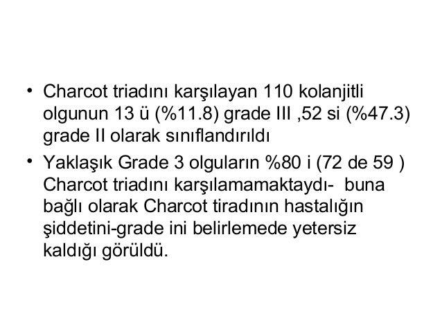 • Charcot triadını karşılayan 110 kolanjitli olgunun 13 ü (%11.8) grade III ,52 si (%47.3) grade II olarak sınıflandırıldı...