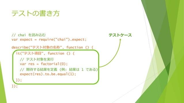 """テストの書き方 // chai を読み込む var expect = require(""""chai"""").expect; describe(""""テスト対象の名称"""", function () { it(""""テスト項目"""", function () { //..."""