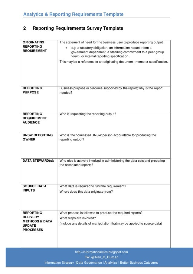 07 analytics reporting requirements template for Business requirement specification document template