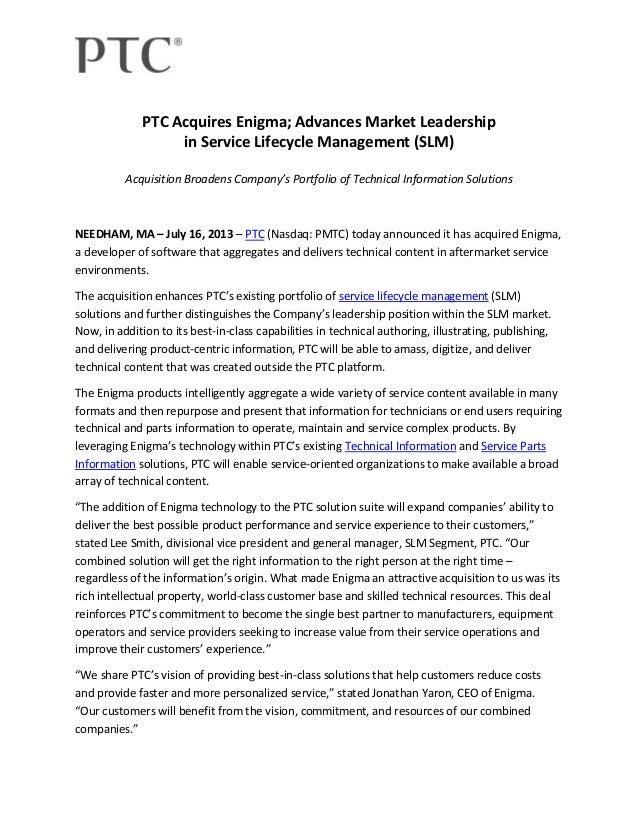 PTC Acquires Enigma; Advances Market Leadership in Service Lifecycle Management (SLM) Acquisition Broadens Company's Portf...
