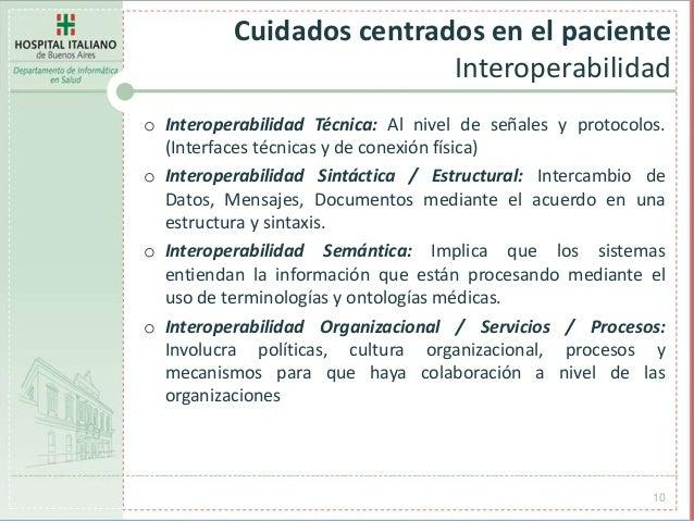 Cuidados centrados en el paciente Interoperabilidad 10 o Interoperabilidad Técnica: Al nivel de señales y protocolos. (Int...