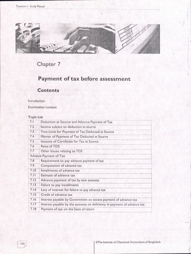 07. payment of tax before assessment ICAB, KL, Study Manual