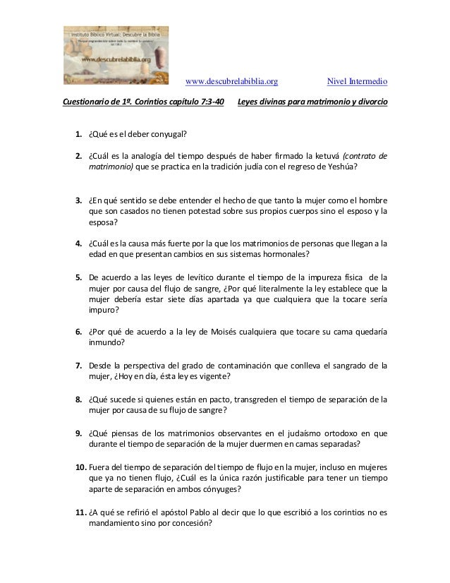 www.descubrelabiblia.org Nivel Intermedio Cuestionario de 1ª. Corintios capítulo 7:3-40 Leyes divinas para matrimonio y di...