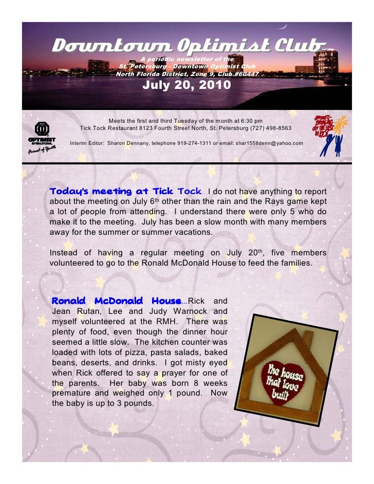 Downtown Optimist Club       A periodic newsletter of the                       St. Petersburg - Downtown Optimist Club   ...