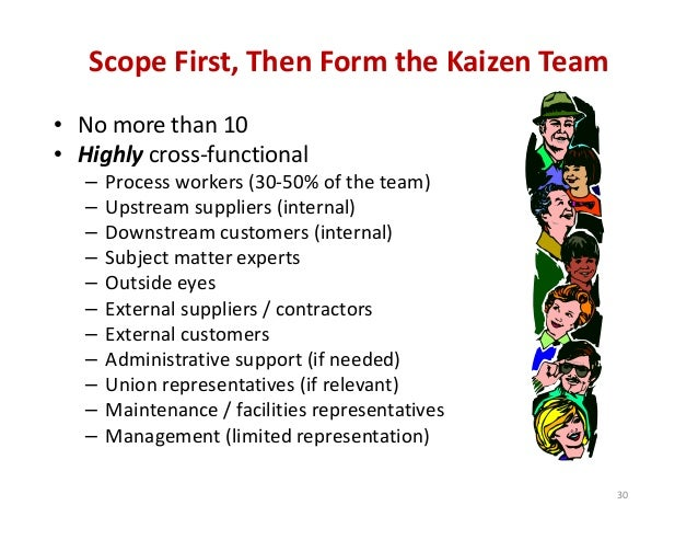 Scope First, Then Form the Kaizen Team • No more than 10 • Highly cross‐functional – Process workers (30‐50% of the team) ...