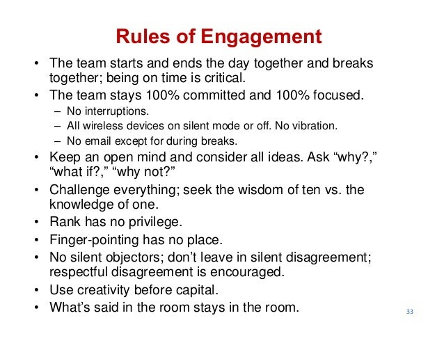 33 Rules of Engagement • The team starts and ends the day together and breaks together; being on time is critical. • The t...