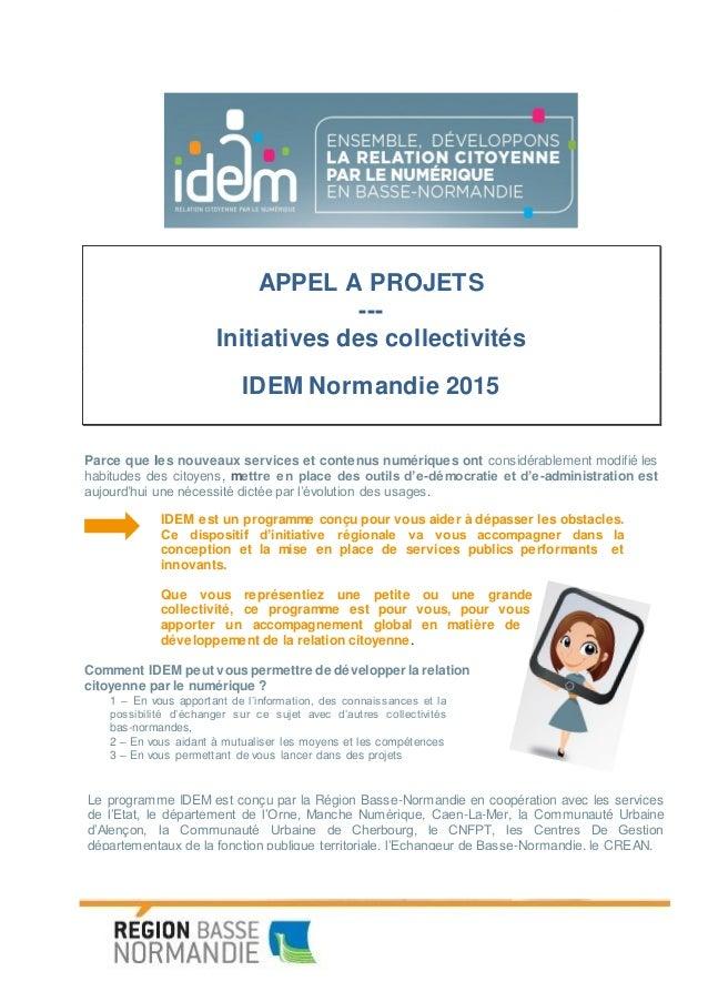 Programme IDEM (Initiative Démocratie Echange Mutualisation), pour le développement de la relation citoyenne par le numéri...
