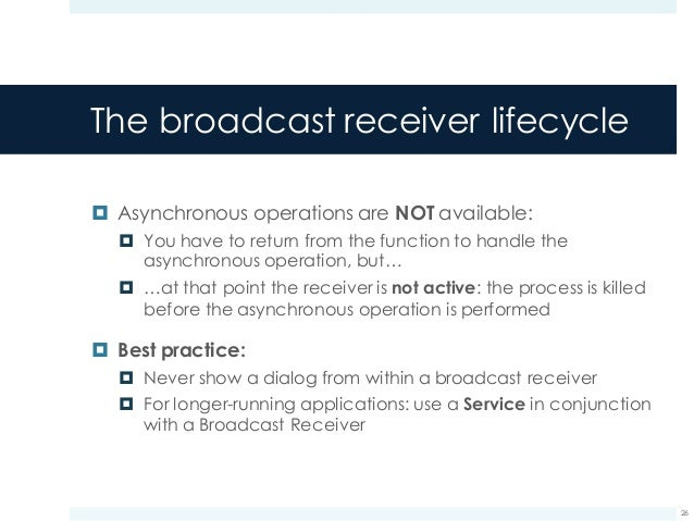 Broadcast Receivers in Android 5 x