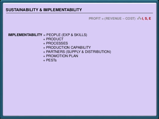 SUSTAINABILITY & IMPLEMENTABILITY PROFIT = (REVENUE – COST) I, S, E IMPLEMENTABILITY = PEOPLE (EXP & SKILLS) + PRODUCT + P...