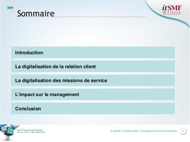 Au delà de l'interface mobile : Emergence de la Real Time Entreprise Slide 2
