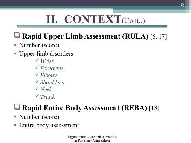 13           II. CONTEXT(Cont..) Rapid Upper Limb Assessment (RULA) [6, 17]• Number (score)• Upper limb disorders       ...