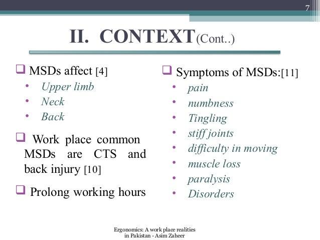 7          II. CONTEXT(Cont..) MSDs affect [4]                       Symptoms of MSDs:[11] •   Upper limb               ...