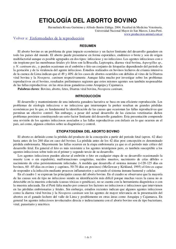 ETIOLOGÍA DEL ABORTO BOVINO                          Hermelinda Rivera Gerónimo y Alfredo Benito Zúñiga. 2004. Facultad de...
