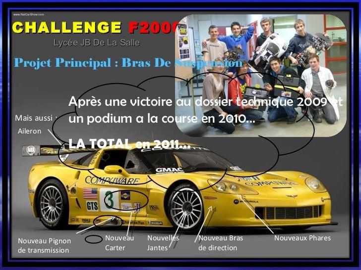 CHALLENGE   F2000 Lycée JB De La Salle Projet Principal : Bras De Suspension Aileron Nouvelles Jantes Nouveaux Phares Mais...