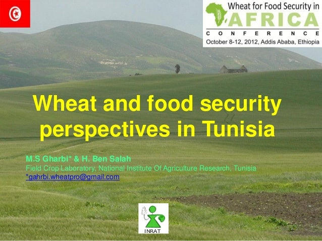 Wheat and food security  perspectives in TunisiaM.S Gharbi* & H. Ben SalahField Crop Laboratory, National Institute Of Agr...